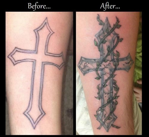 arm tattoos coverups crosses - 7166393856