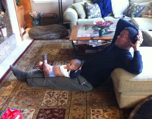 watching TV,like father like son