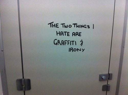 bathroom stall,graffiti,irony