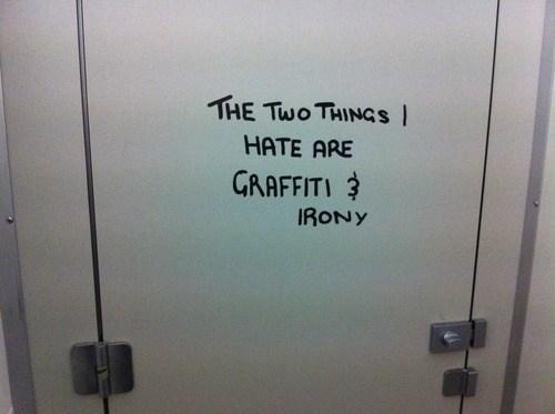 bathroom stall graffiti irony - 7168125440