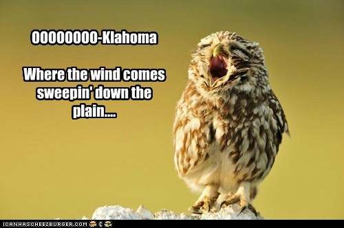 OOOOOOOO-Klahoma Where the wind comes sweepin' down the plain....