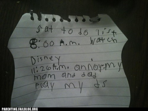 annoying kids to-do list