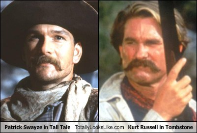 Patrick Swayze,totally looks like,kurt russell,mustaches