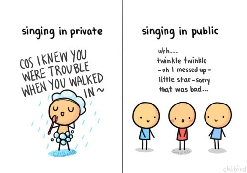 singing,comics,showers