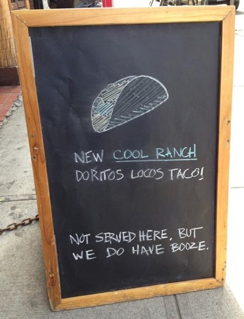 cool ranch doritos taco,taco bell,chalkboards,disappointing