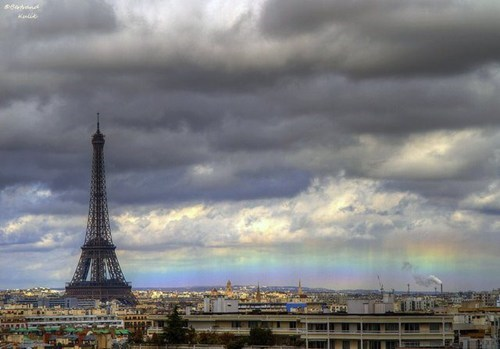 paris cityscape rainbow - 7173986816