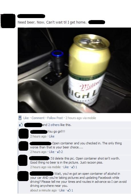 beer drunk driving dui FAIL facebook classic - 7176100352