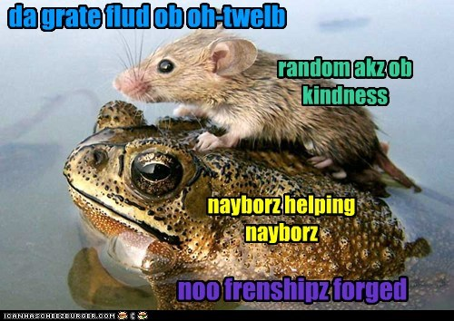 da grate flud ob oh-twelb random akz ob kindness nayborz helping nayborz noo frenshipz forged