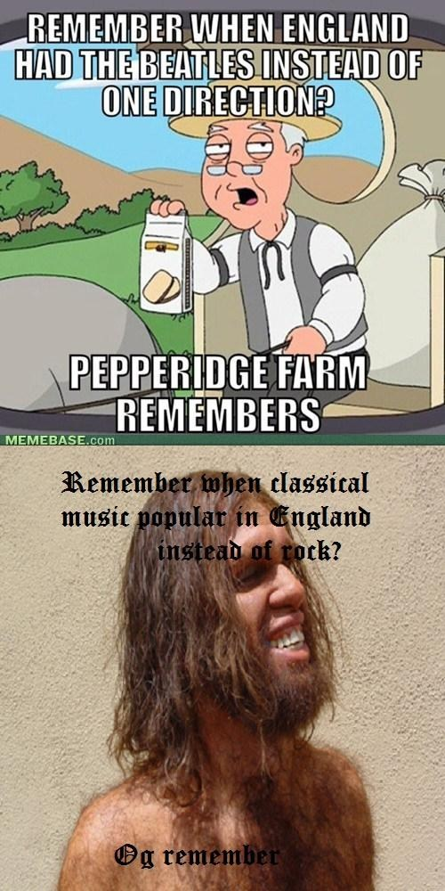 one direction,the Beatles,cavemen,pepperidge farm remembers,classical music