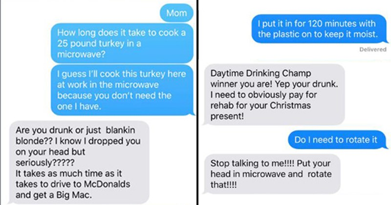 twitter viral trend thanksgiving turkey microwave trolling Turkey troll prank prank text viral family mom holidays parents tweets - 7183365