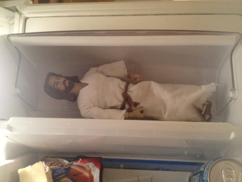 jesus,easter,chilling,freezer,jk