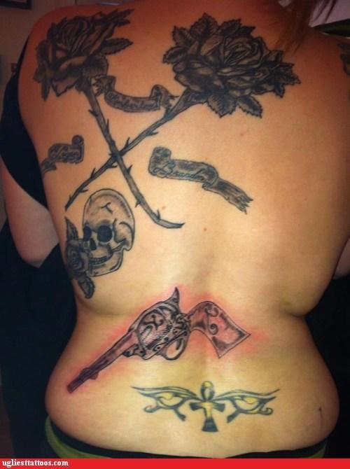 guns back tattoos skulls - 7185813248