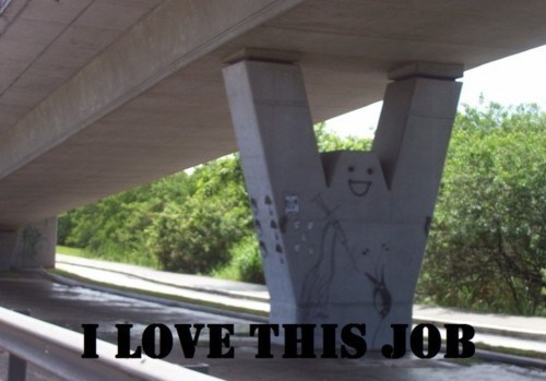 work,happy face,underpass,overpass