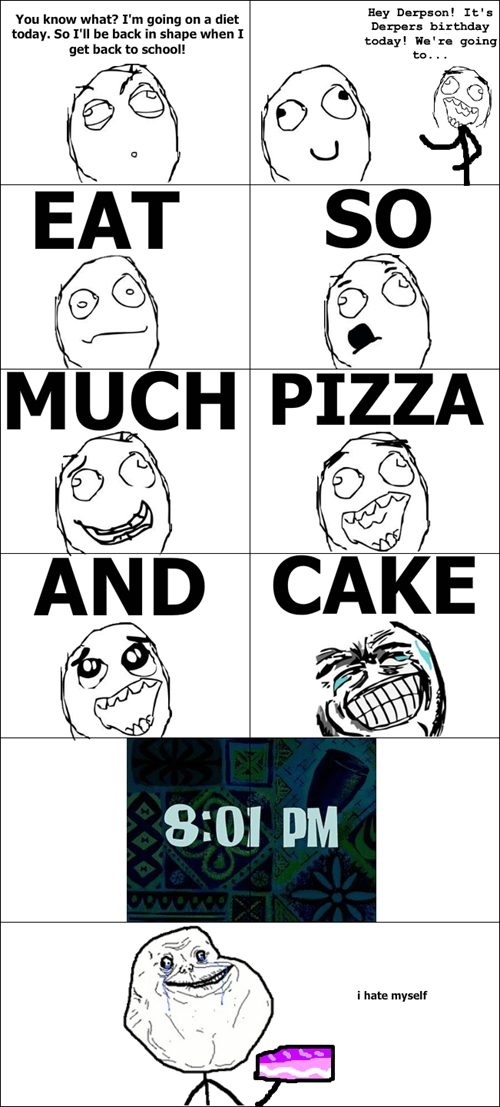 cake,forever alone,pizza,diets,holidays