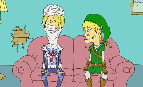 crossover link beavis and butthead art mashups zelda - 7186282496