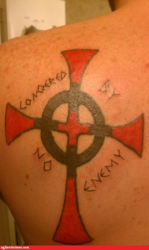 misspelled tattoos conquered crosses - 7192851456