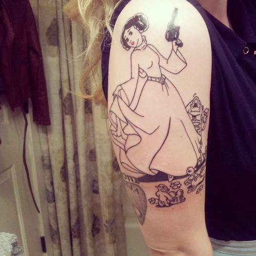 arm tattoos,star wars,disney princesses,Princess Leia