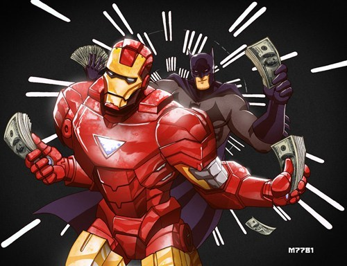 dolla dolla bill,iron man,batman,money