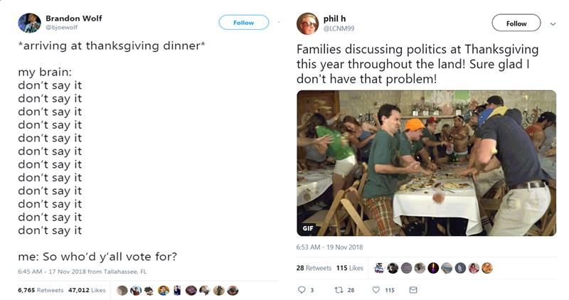 twitter thanksgiving debate dinner family - 7196677