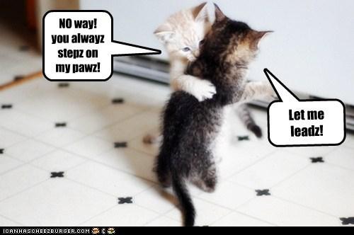 Let me leadz! NO way! you alwayz stepz on my pawz!