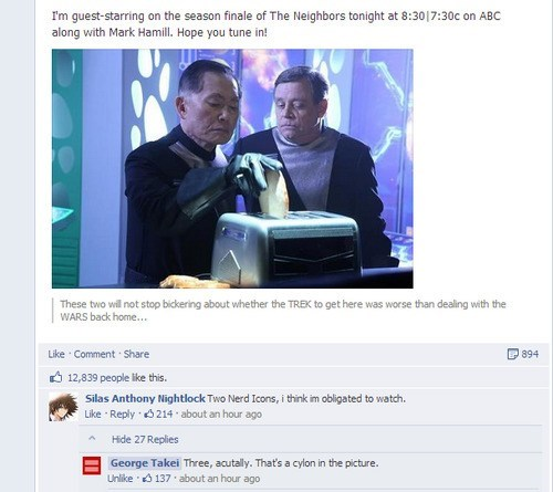 star wars facebook Battlestar Galactica Star Trek george takei