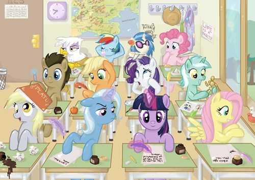 ponies art cute high school - 7198021120