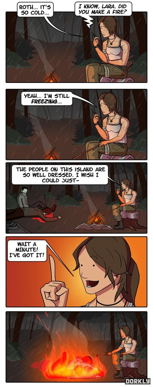 lara croft,dorkly,comics,video game logic