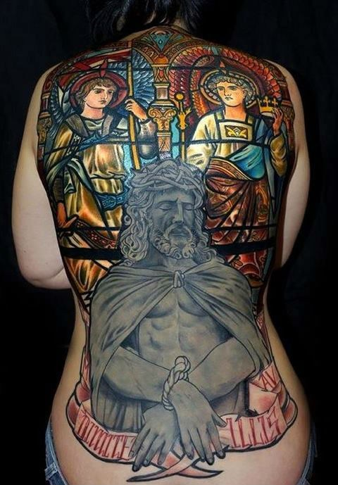 jesus,stained glass,back tattoos,april fools