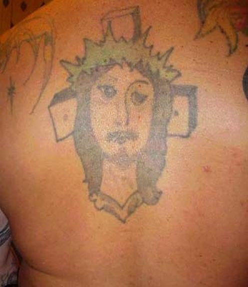 jesus,back tattoos,crucifix