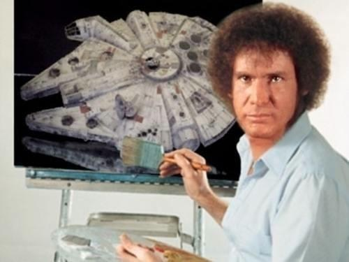 photoshop bob ross Han Solo painting - 7198990080