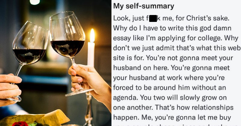 guy writing an essay about having to write an essay about himself on dating apps