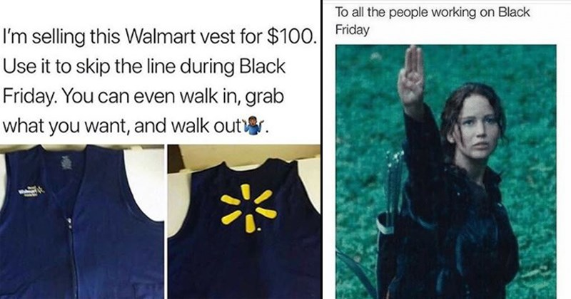 cover image of a Walmart vest for sale, hunger games sending good luck to shoppers on black Friday