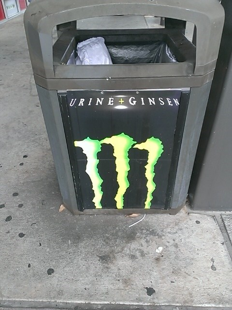 energy drinks,trash can,there I fixed it