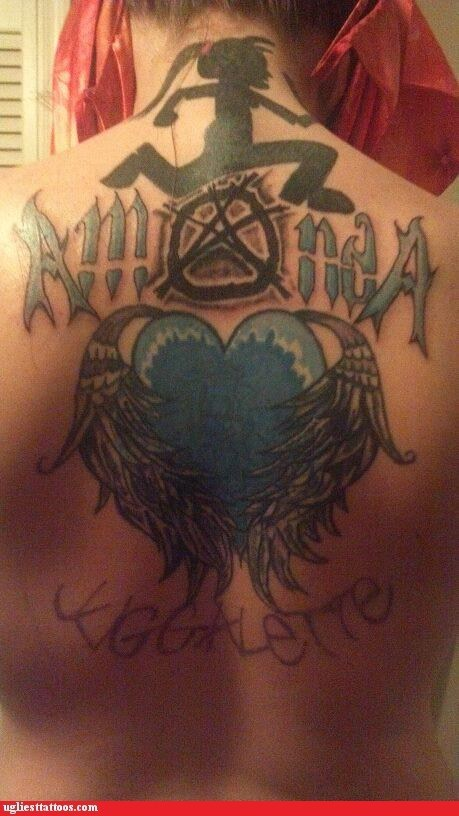 juggalos,hearts,back tattoos