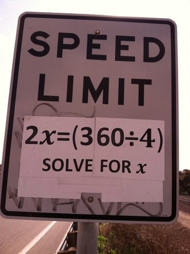 sign math speed limit g rated School of FAIL