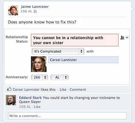 Game of Thrones zing Lannisters jaime lannister burn dating fails - 7228902400