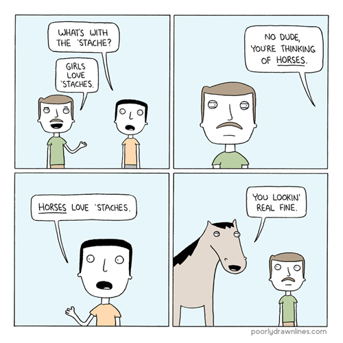 poorly drawn lines mustache comics horses - 7229982464
