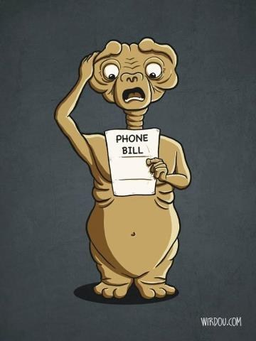 E.T long distance charges roaming is expensive comic phone home - 7230892544