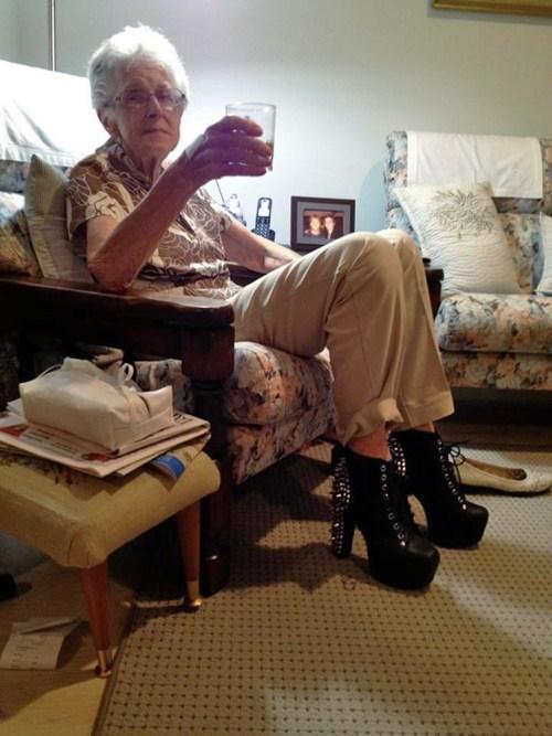 boots grannies high heels