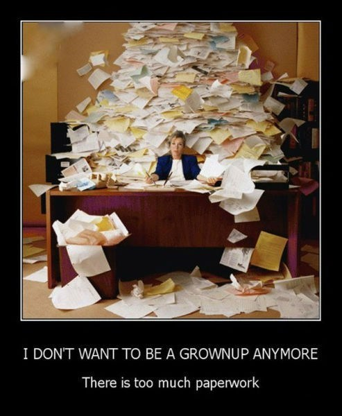 Office messy paperwork