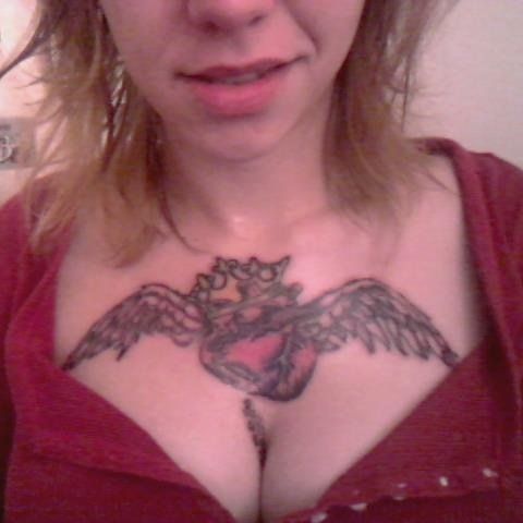 wings hearts chest tattoos - 7231117056