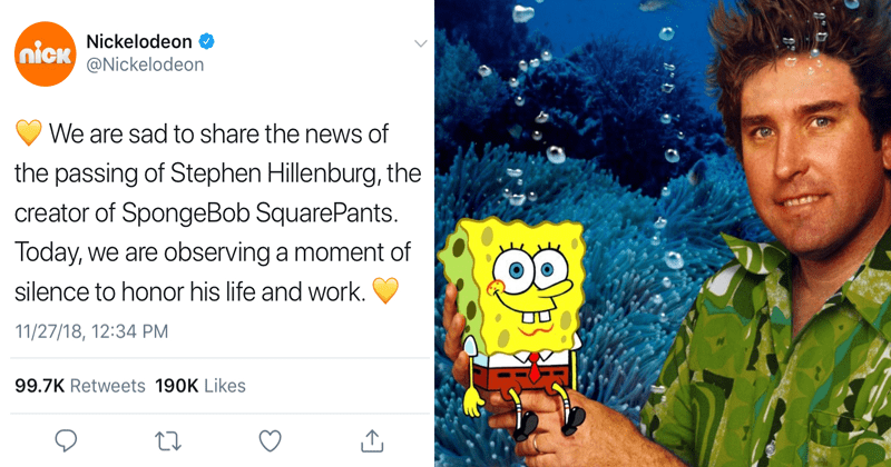 Tweets following the death of stephen hillenburg, creator of Spongebob Squarepants Nickelodeon.