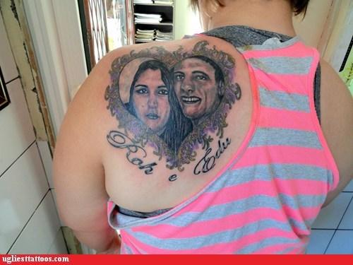 hearts,back tattoos,portrait tattoos