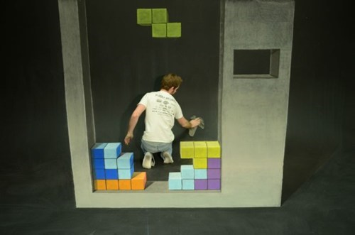 chalk art,tetris,perspective,illusion