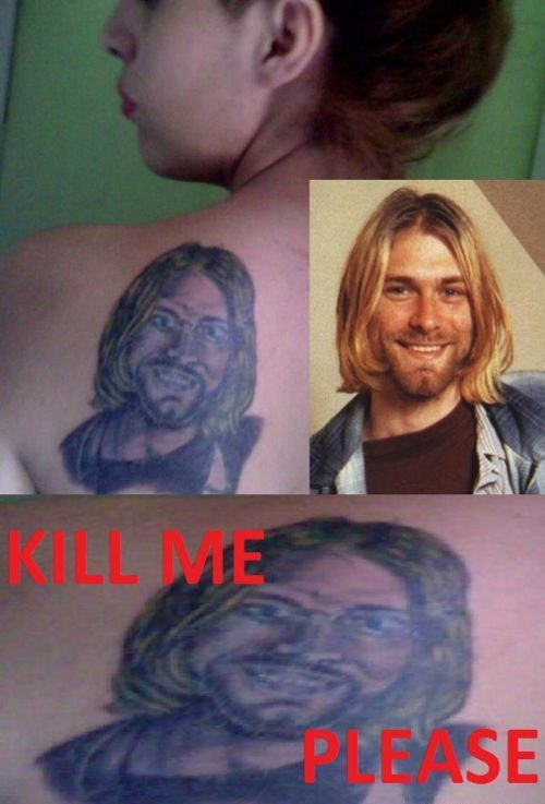 back tattoos kurt cobain nirvana - 7240009728