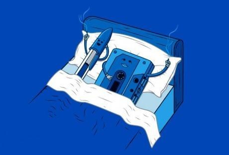 pen,cassette tape,comics
