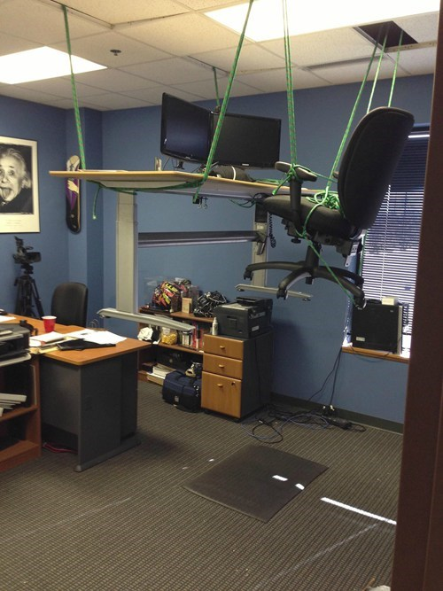 offices,bungee cords,pranks