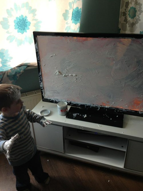 paint,TV,flat-screen tv,g rated,Parenting FAILS
