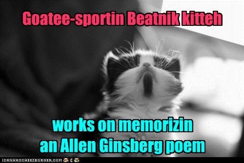 Goatee-sportin Beatnik kitteh works on memorizin an Allen Ginsberg poem