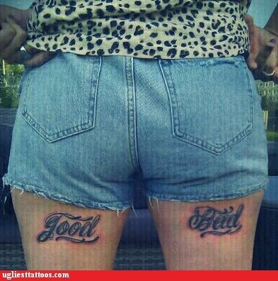 bad,good,thigh tattoos